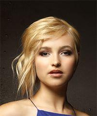 Short Straight Casual  Shag  Hairstyle with Side Swept Bangs  - Light Golden Blonde Hair Color