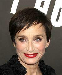 Kristin Scott Thomas Short Straight Casual  Pixie  Hairstyle with Razor Cut Bangs  - Dark Brunette Hair Color