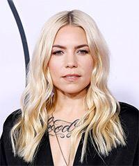 Skylar Grey Long Wavy Casual    Hairstyle   - Light Blonde Hair Color
