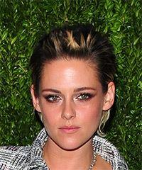 Kristen Stewart Short Straight Casual    Hairstyle   - Dark Brunette and Light Blonde Two-Tone Hair Color