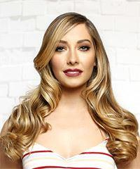 Long Wavy Casual    Hairstyle with Side Swept Bangs  -  Blonde Hair Color