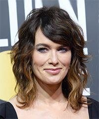 Lena Headey Short Wavy   Dark Brunette and Caramel Two-Tone Shag  Hairstyle with Side Swept Bangs
