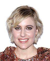 Greta Gerwig Short Wavy Casual    Hairstyle with Side Swept Bangs  -  Blonde Hair Color