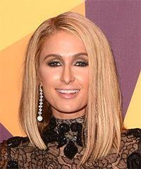 Paris Hilton Medium Straight Formal  Bob  Hairstyle   - Light Blonde Hair Color