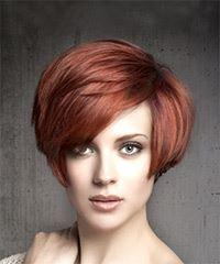 Short Straight Casual   Hairstyle with Side Swept Bangs  - Medium Red