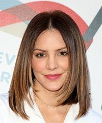 Katharine McPhee Medium Straight Formal  Bob  Hairstyle   -  Brunette Hair Color with Light Brunette Highlights