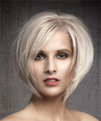 Short Straight Formal Bob  Hairstyle with Side Swept Bangs  - Light Blonde (Ash)