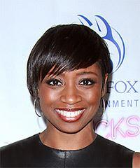 Montego Glover Short Straight Casual  Pixie  Hairstyle with Side Swept Bangs  - Black  Hair Color