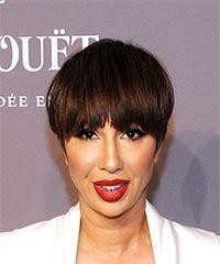 Jackie Cruz Short Straight Casual  Pixie  Hairstyle with Layered Bangs  -  Brunette Hair Color