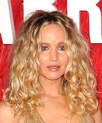 Jennifer Lawrence Long Curly Casual    Hairstyle   - Light Blonde Hair Color