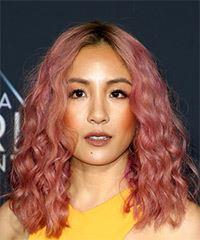 Constance Wu Medium Curly Casual  Bob  Hairstyle   - Pink  Hair Color