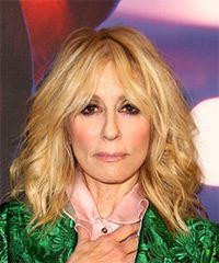 Judith Light Medium Wavy Casual    Hairstyle with Layered Bangs  - Light Blonde Hair Color