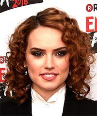Daisy Ridley Medium Curly Casual    Hairstyle   -  Red Hair Color