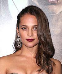 Alicia Vikander Long Wavy Casual    Hairstyle   -  Brunette Hair Color