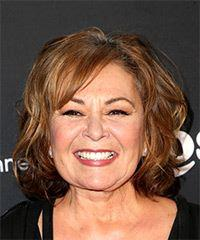 Roseanne Barr Medium Wavy Casual    Hairstyle with Side Swept Bangs  -  Brunette Hair Color