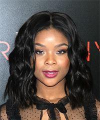 Ajiona Alexus Medium Wavy Casual  Bob  Hairstyle   - Black  Hair Color
