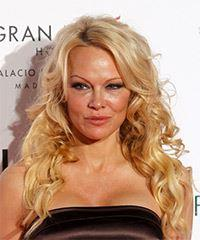 Pamela Anderson Long Wavy Casual    Hairstyle with Side Swept Bangs  - Light Blonde Hair Color