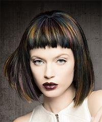 Short Straight Alternative  Bob  Hairstyle with Blunt Cut Bangs  - Dark Brunette Hair Color