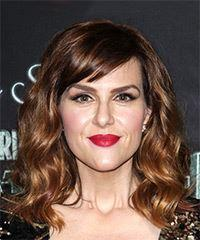Sara Rue Medium Wavy Casual    Hairstyle with Side Swept Bangs  -  Brunette Hair Color
