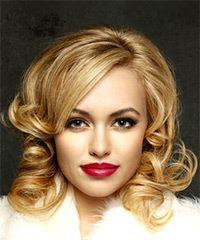 Medium Wavy Casual   Hairstyle with Side Swept Bangs  - Medium Blonde
