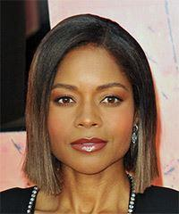 Naomie Harris Short Straight Casual  Bob  Hairstyle   - Black  and  Brunette Two-Tone Hair Color