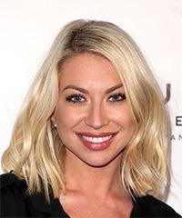 Stassi Schroeder Medium Straight Casual  Bob  Hairstyle   - Light Blonde Hair Color