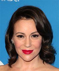 Alyssa Milano Medium Wavy Casual    Hairstyle with Side Swept Bangs  - Dark Brunette Hair Color