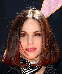 Lana Parrilla Medium Straight Casual  Bob  Hairstyle   - Dark Brunette Hair Color