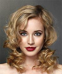 Medium Wavy Casual    Hairstyle with Side Swept Bangs  -  Blonde Hair Color