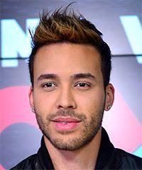 Prince Royce Short Straight Casual    Hairstyle   - Black  Hair Color with  Brunette Highlights