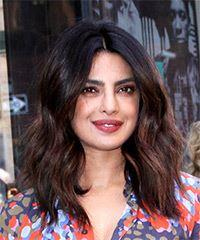 Priyanka Chopra Medium Wavy Casual  Bob  Hairstyle   - Dark Brunette Hair Color