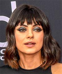 Mila Kunis Medium Wavy Casual  Bob  Hairstyle with Blunt Cut Bangs  - Black  Hair Color