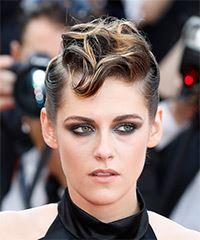 Kristen Stewart Short Wavy Casual  Mohawk  Hairstyle   - Medium Brunette Hair Color