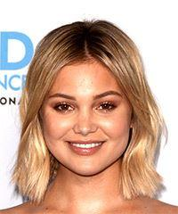 Olivia Holt Medium Straight Casual  Bob  Hairstyle   -  Blonde Hair Color