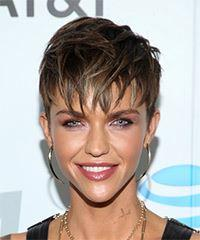 Ruby Rose Short Straight Casual  Pixie  Hairstyle with Layered Bangs  - Dark Brunette Hair Color