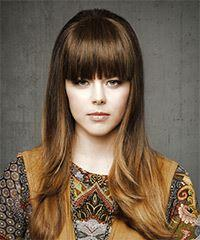 Long Straight Casual    Hairstyle with Blunt Cut Bangs  - Medium Brunette Hair Color