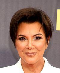 Kris Jenner Short Straight Casual  Pixie  Hairstyle   -  Brunette Hair Color