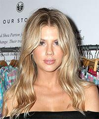 Charlotte McKinney Long Wavy Casual    Hairstyle   - Light Blonde Hair Color