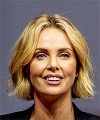 Charlize Theron Short Straight Casual  Bob  Hairstyle   - Light Blonde Hair Color
