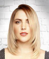 Medium Straight Formal  Bob  Hairstyle   - Light Blonde Hair Color