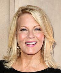 Barbara Niven Medium Straight Casual    Hairstyle with Side Swept Bangs  - Light Blonde Hair Color