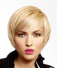 Short Straight Formal Hairstyle With Side Swept Bangs Light Blonde Hair Color
