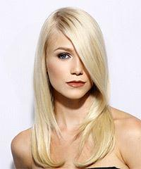 Long Straight   Light Blonde   Hairstyle with Side Swept Bangs