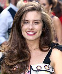 Rachel Shenton Long Wavy Casual    Hairstyle with Side Swept Bangs  - Dark Brunette Hair Color