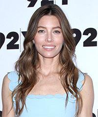 Jessica Biel Long Wavy Casual    Hairstyle with Layered Bangs  - Dark Brunette Hair Color