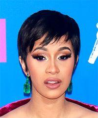 Cardi-B Short Straight Casual  Pixie  Hairstyle with Side Swept Bangs  - Black  Hair Color