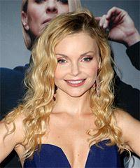 Izabella Miko Long Curly Casual  Asymmetrical  Hairstyle with Side Swept Bangs  -  Blonde Hair Color