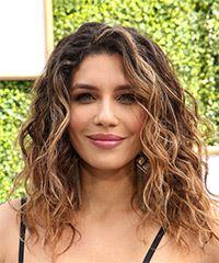 Juliana Harkavy Long Wavy Casual  Bob  Hairstyle with Side Swept Bangs  - Dark Brunette Hair Color with  Blonde Highlights