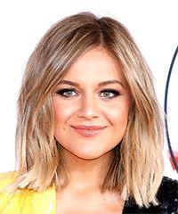 Kelsea Ballerini Medium Straight Casual  Bob  Hairstyle with Side Swept Bangs  -  Blonde and Light Blonde Two-Tone Hair Color