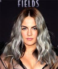 Jojo Levesque Long Wavy Casual    Hairstyle with Layered Bangs  and  Grey Two-Tone